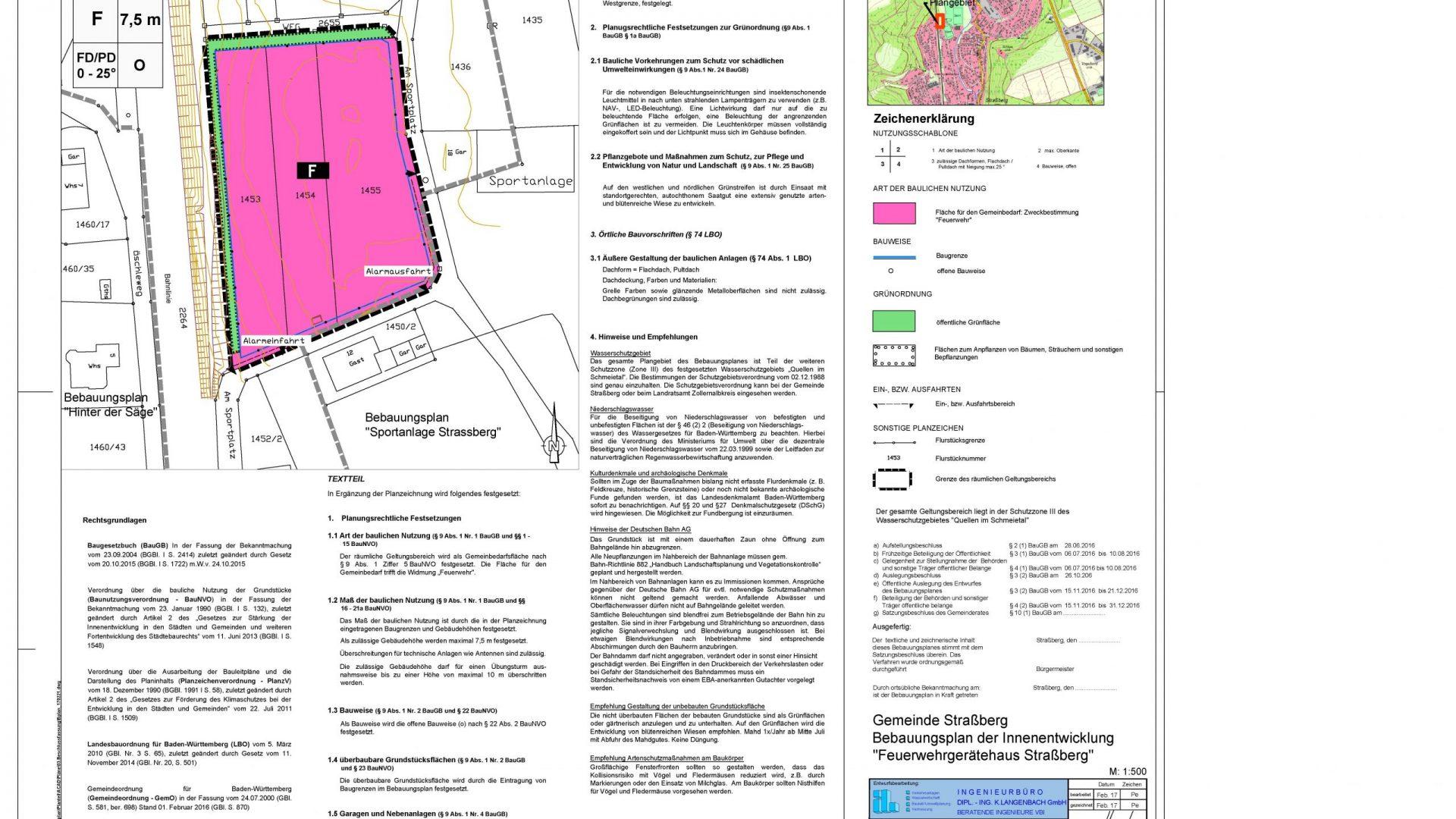 """Gemeinde Straßberg <br><h4>Bebauungsplan der Innenentwicklung """"Feuerwehrgerätehaus Straßberg""""</h4>"""