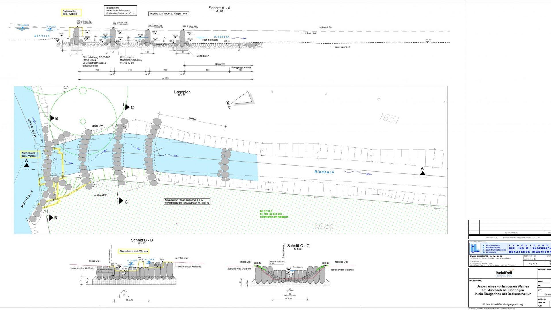 Umbau eines Wehres am Mühlbach bei Böhringen in einem Raugerinne mit Beckenstruktur